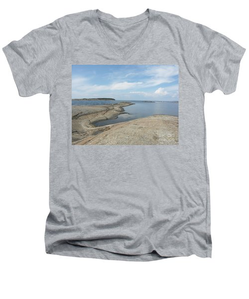 Rocky Coastline In Hamina Men's V-Neck T-Shirt