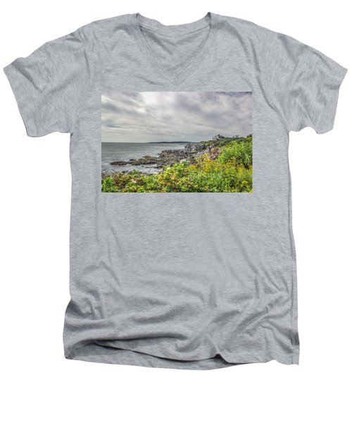 Men's V-Neck T-Shirt featuring the photograph Rocky Maine Shoreline by Jane Luxton