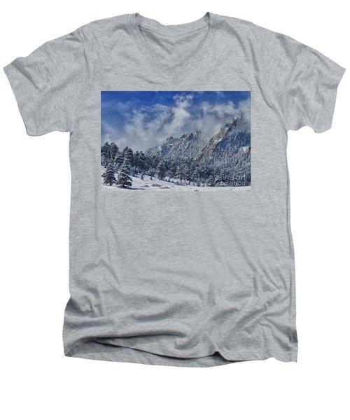 Rocky Mountain Dusting Of Snow Boulder Colorado Men's V-Neck T-Shirt