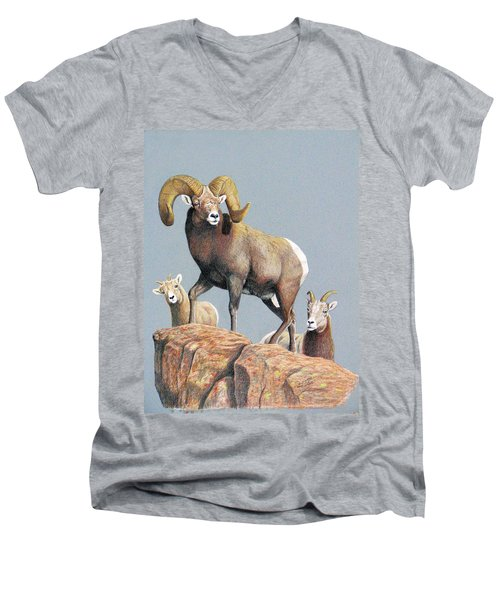 Rocky Mountain Ram Ewe And Lamb Men's V-Neck T-Shirt