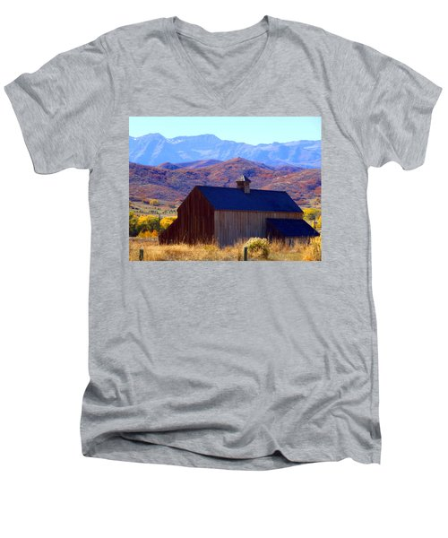 Men's V-Neck T-Shirt featuring the photograph Rocky Mountain Retreat by Jackie Carpenter