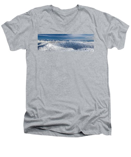 Men's V-Neck T-Shirt featuring the photograph Rocky Mountain Winter by Aaron Aldrich