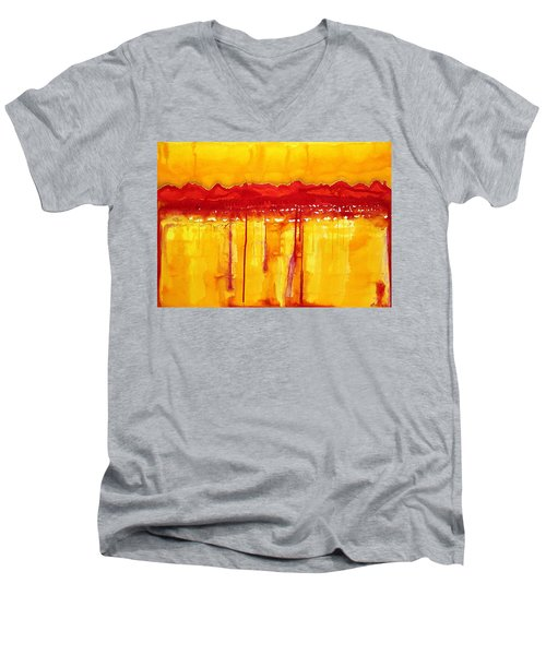 Rocky Mountains Original Painting Men's V-Neck T-Shirt by Sol Luckman