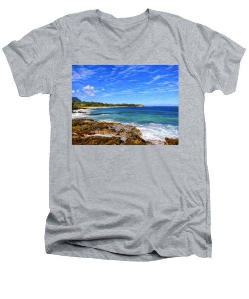 Rocky Shore Near Poipu Men's V-Neck T-Shirt