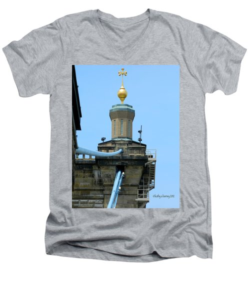 Men's V-Neck T-Shirt featuring the photograph Roebling Bridge From Kentucky by Kathy Barney