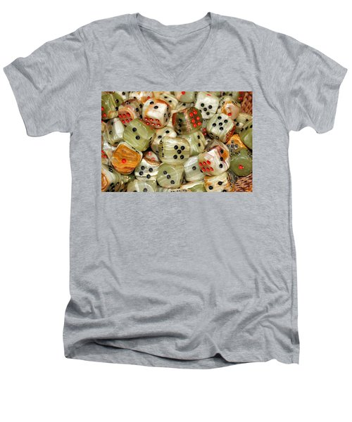 Men's V-Neck T-Shirt featuring the photograph Roll The Dice by Jean Goodwin Brooks
