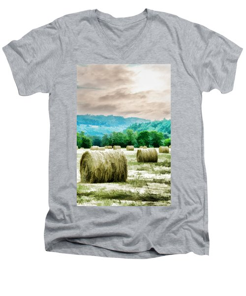 Rolled Bales Men's V-Neck T-Shirt by Mick Anderson