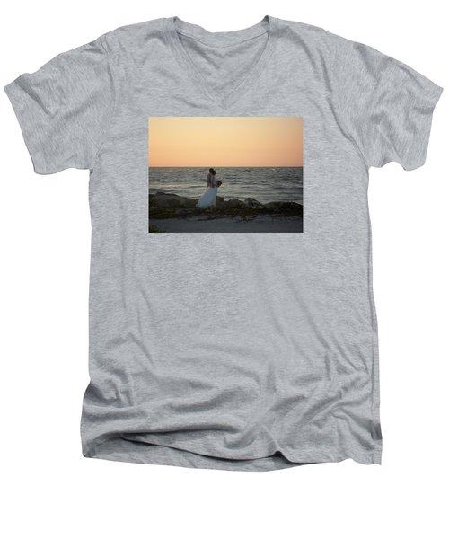 Romance In Captiva Men's V-Neck T-Shirt by Val Oconnor