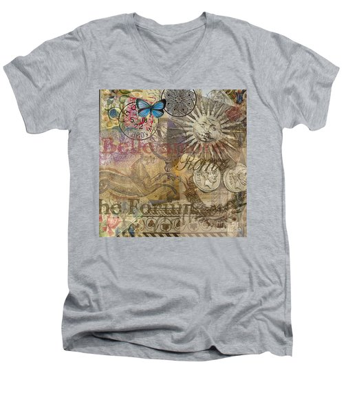 Rome Vintage Italy Travel Collage  Men's V-Neck T-Shirt
