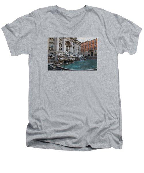 Rome's Fabulous Fountains - Trevi Fountain - No Tourists Men's V-Neck T-Shirt by Georgia Mizuleva