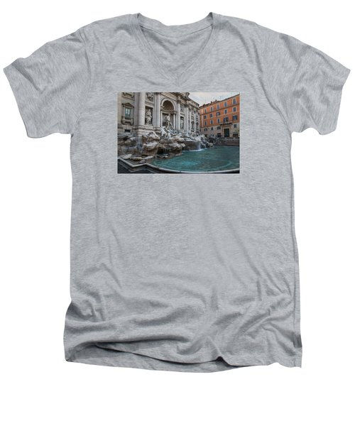 Rome's Fabulous Fountains - Trevi Fountain - No Tourists Men's V-Neck T-Shirt
