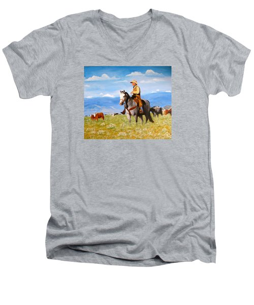 Ron And  Cash At Work Men's V-Neck T-Shirt