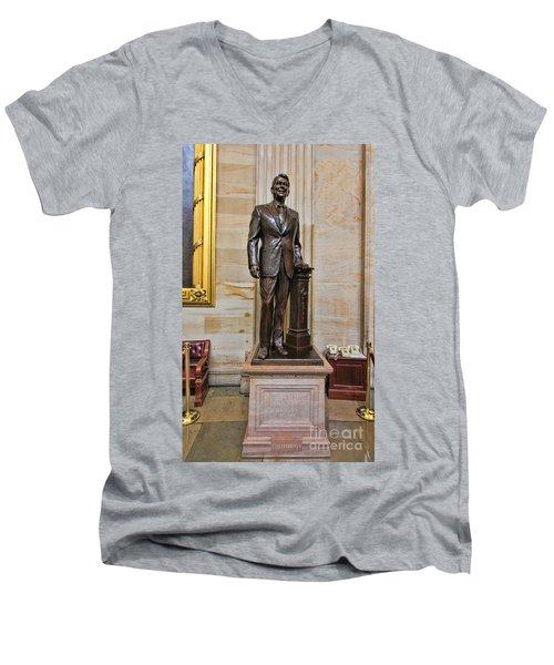Ronald Regan -  U S Capitol Statuary Hall Men's V-Neck T-Shirt by Allen Beatty