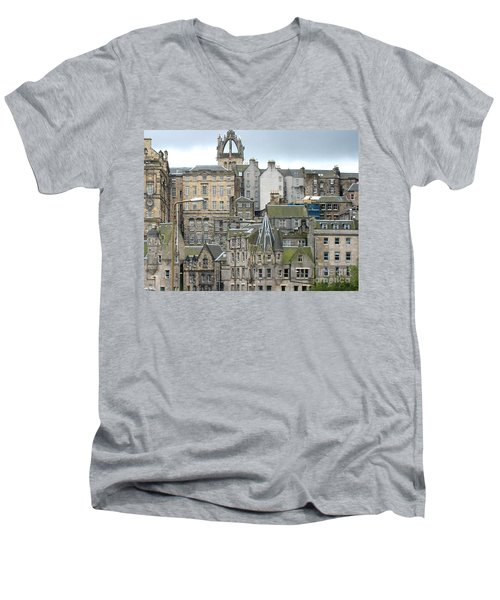 Roofs Of Edinburgh  Men's V-Neck T-Shirt by Suzanne Oesterling