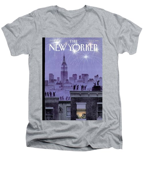 Rooftop Revelers Celebrate New Year's Eve Men's V-Neck T-Shirt