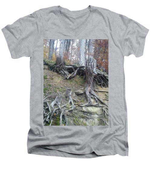 Men's V-Neck T-Shirt featuring the painting Roots by Felicia Tica