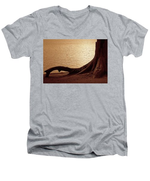 Men's V-Neck T-Shirt featuring the photograph Roots by Mim White