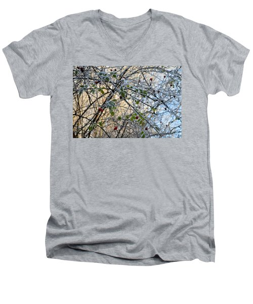Men's V-Neck T-Shirt featuring the painting Rosa Canina  by Felicia Tica