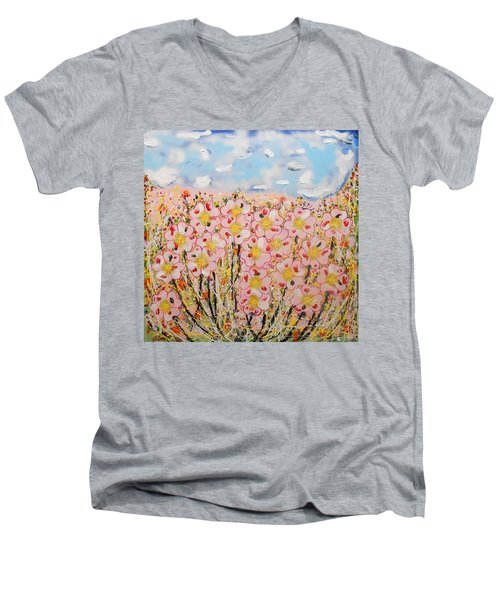 Rosa Ruby Flower Garden Men's V-Neck T-Shirt
