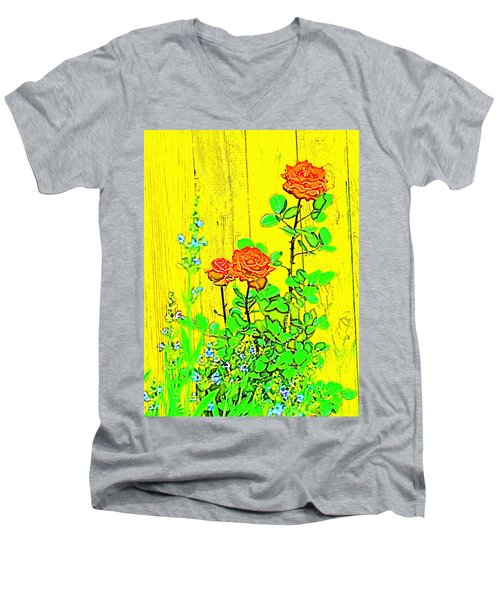 Men's V-Neck T-Shirt featuring the photograph Rose 9 by Pamela Cooper