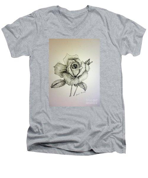 Rose In Monotone Men's V-Neck T-Shirt