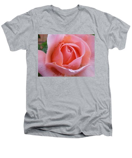 Men's V-Neck T-Shirt featuring the photograph Rose In The Rain by Lingfai Leung