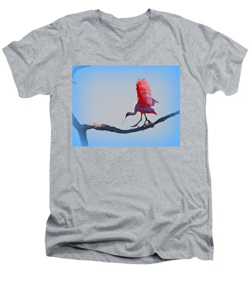 Men's V-Neck T-Shirt featuring the photograph Roseate Spoonbill by David Mckinney