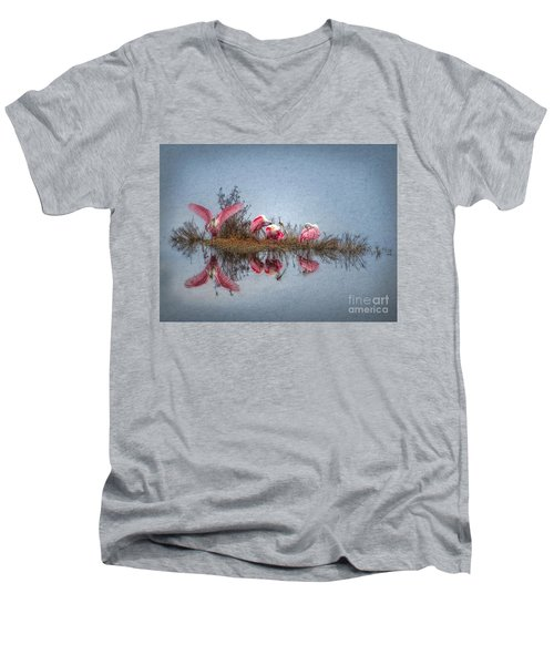 Men's V-Neck T-Shirt featuring the digital art Roseate Spoonbills At Rest by Lianne Schneider