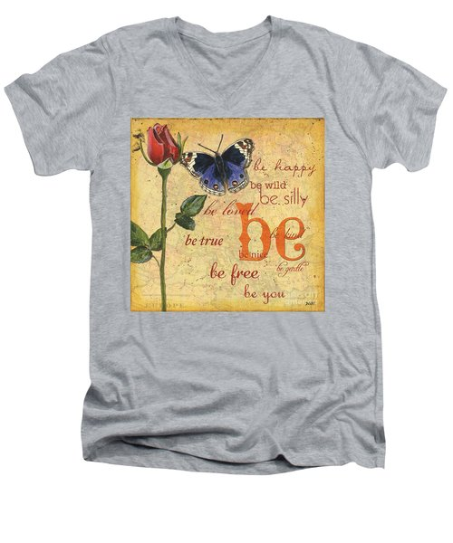 Roses And Butterflies 1 Men's V-Neck T-Shirt by Debbie DeWitt