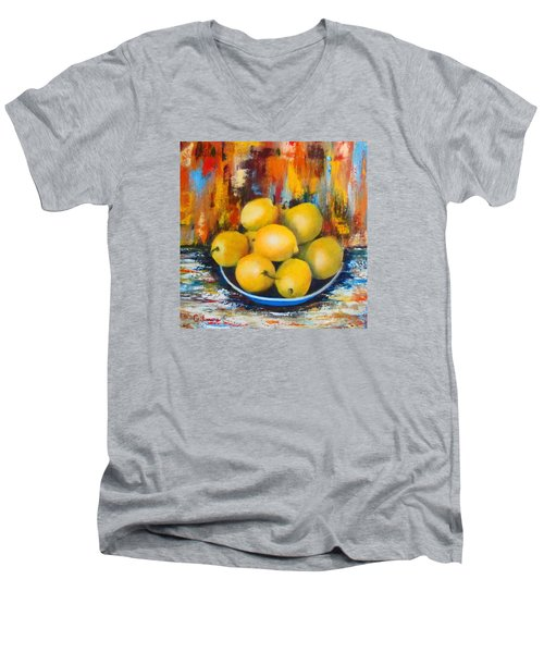 Men's V-Neck T-Shirt featuring the painting Rosie's Harvest by Roseann Gilmore