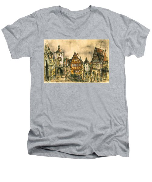Rothenburg Bavaria Germany - Romantic Watercolor Men's V-Neck T-Shirt