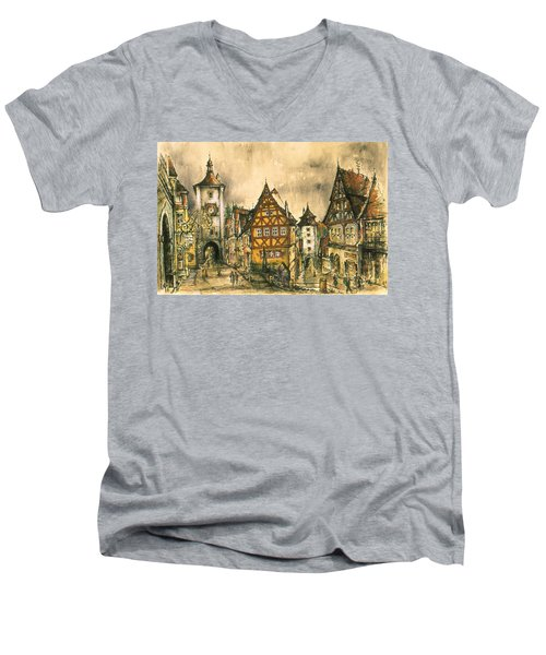 Rothenburg Bavaria Germany - Romantic Watercolor Men's V-Neck T-Shirt