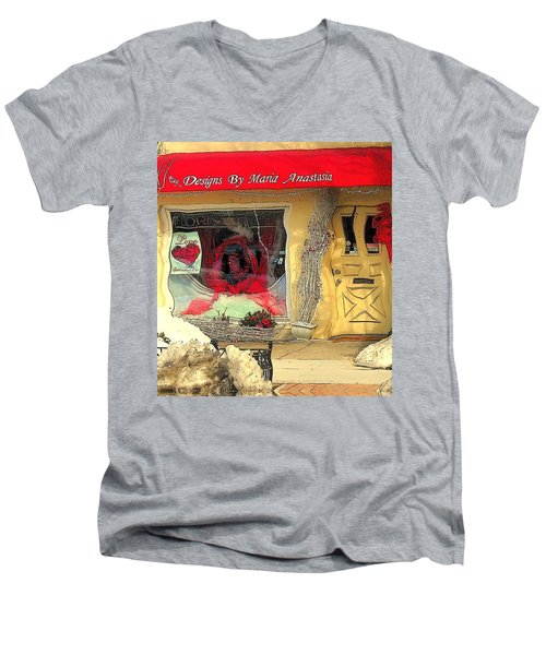 Rouge On The Rue Men's V-Neck T-Shirt by Tami Quigley