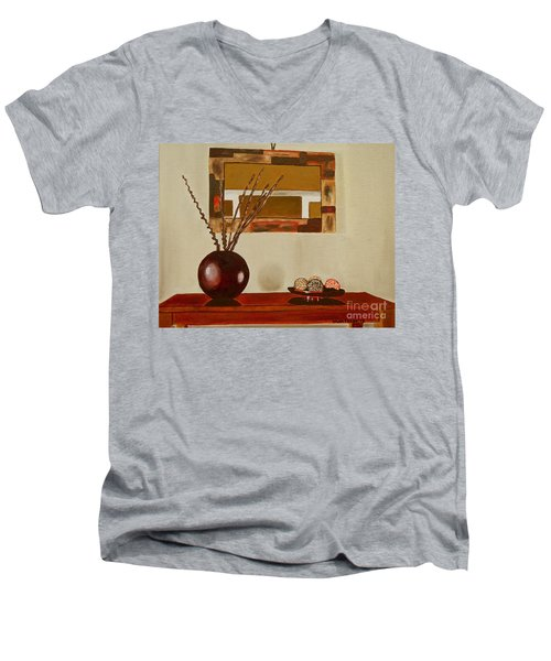 Men's V-Neck T-Shirt featuring the painting Round Vase by Laura Forde
