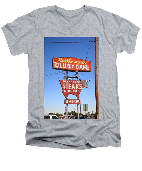 Route 66 - Cattleman's Club And Cafe Men's V-Neck T-Shirt