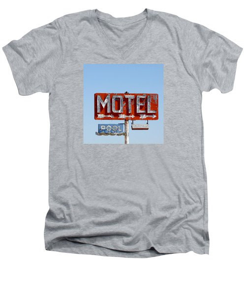 Route 66 Motel Sign Men's V-Neck T-Shirt by Art Block Collections