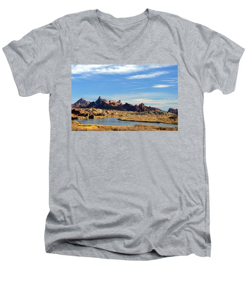 Route 66 Needles Mtn Range Two  Sold Men's V-Neck T-Shirt by Antonia Citrino