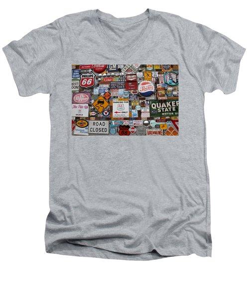 Route 66 Signs Men's V-Neck T-Shirt