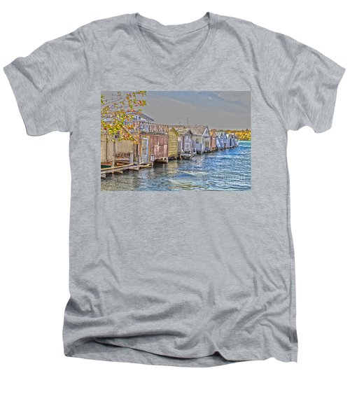 Row Of Boathouses Men's V-Neck T-Shirt by William Norton