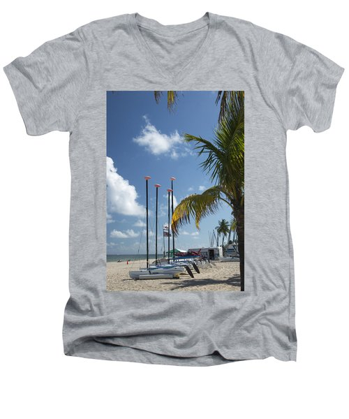Row Of Sailboats Men's V-Neck T-Shirt