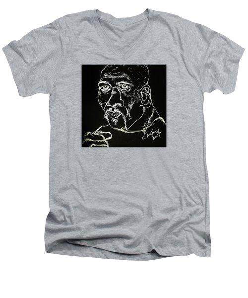 Men's V-Neck T-Shirt featuring the drawing Rubin Hurricane Carter by Rand Swift