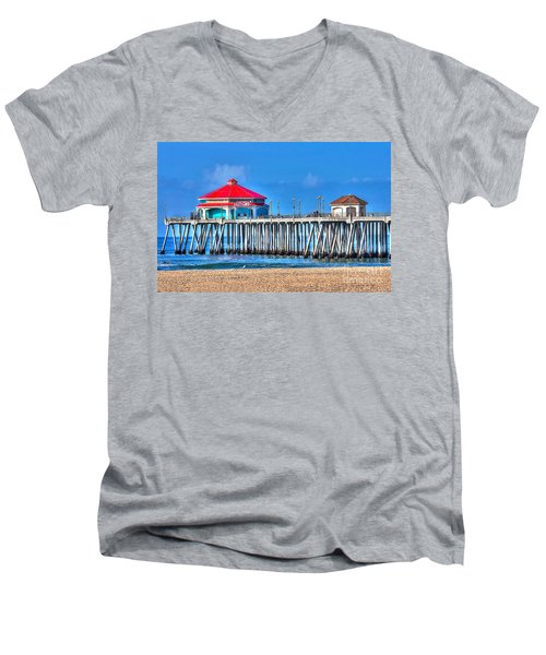 Ruby's Surf City Diner - Huntington Beach Pier Men's V-Neck T-Shirt