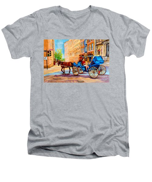 Men's V-Neck T-Shirt featuring the painting Rue Notre Dame Caleche Ride by Carole Spandau