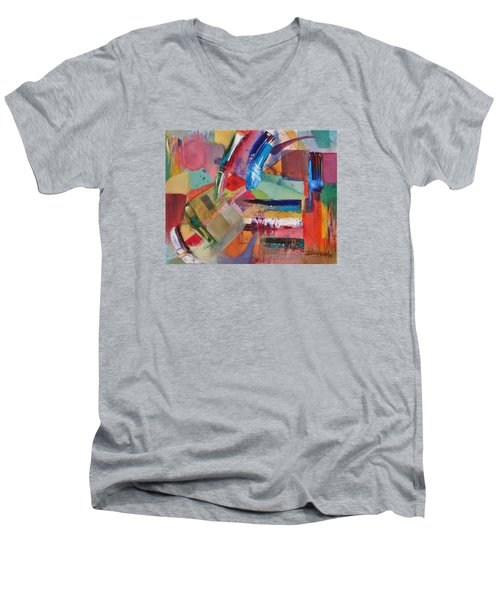 Men's V-Neck T-Shirt featuring the painting Rugged Strokes by Jason Williamson