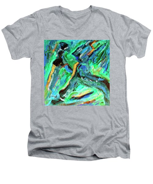 Men's V-Neck T-Shirt featuring the painting Runners by Dominic Piperata
