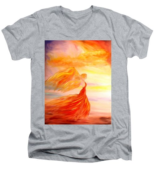 Men's V-Neck T-Shirt featuring the painting Running Along The Beach by Lilia D