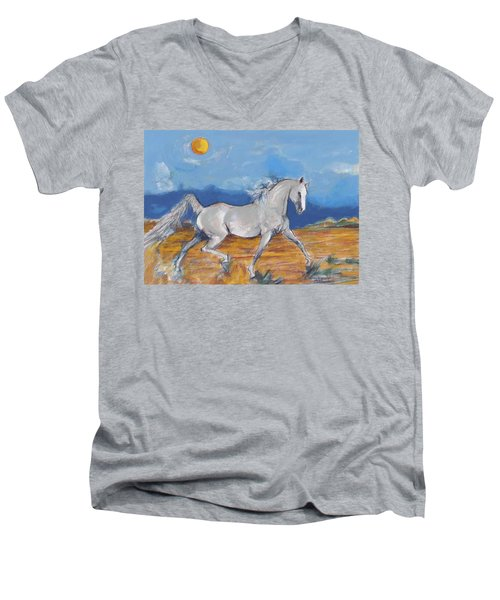 Running Horse M Men's V-Neck T-Shirt by Mary Armstrong