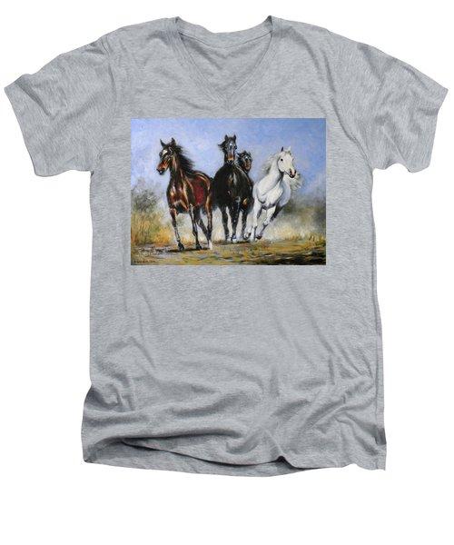 Running Horses Men's V-Neck T-Shirt