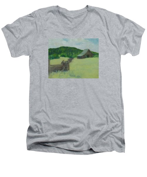 Rural Landscape Colorful Oil Painting Barn Fence Men's V-Neck T-Shirt by Elizabeth Sawyer