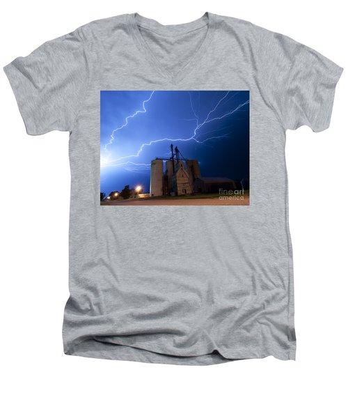 Rural Lightning Storm Men's V-Neck T-Shirt by Art Whitton